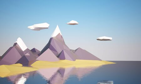 steep by steep: low poly mountain landscape with water Stock Photo