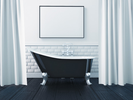 shower curtain: 3d rendering interior of a bathroom