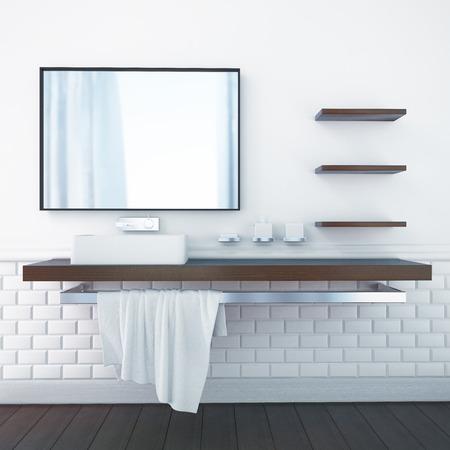浴室の 3 d レンダリング インテリア 写真素材