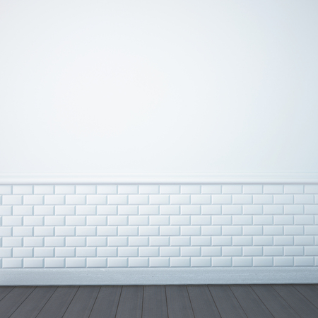 plinth: render of an empty bathroom wall Stock Photo