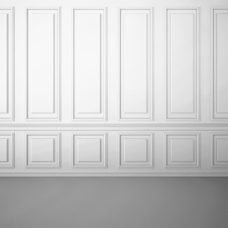 Classic white interior with decorative moldings on the wall