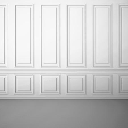 nội thất màu trắng cổ điển với đường gờ dọc trang trí trên tường