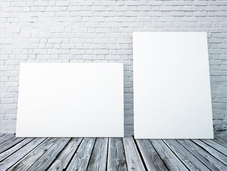Mock-up posters frames in het interieur tegen een witte bakstenen muur Stockfoto - 46377929