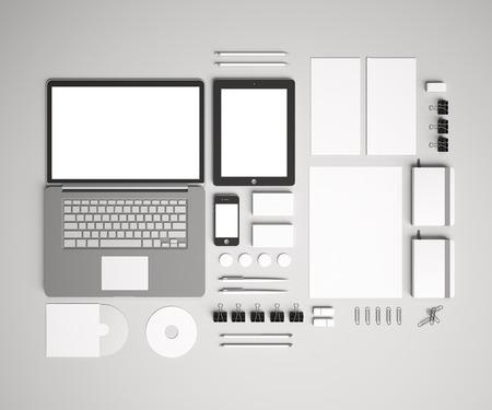 空白のコーポレートアイデンティティは、文房具ブランドを設定します。レターヘッド、フォルダー、本、ノート、携帯電話、タブレット pc、ビジ 写真素材