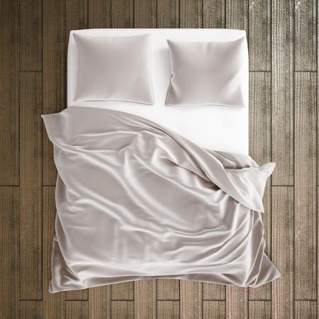 寝室のベッドの 3 d イラストレーション。上のベッドからの眺め 写真素材