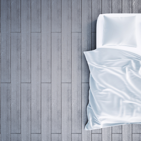 3d illustration of bed in the bedroom. View from the top bed Stock Photo