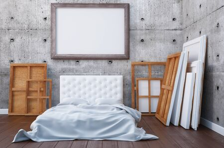 bedroom wall: 3d render bedroom with a bed and the pictures on the floor and wall. Mockup studio artist. Stock Photo