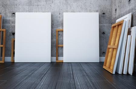 3d render. Interior mock up artist's studio Banque d'images