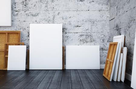 3 d のレンダリング。インテリア アーティストのスタジオを模擬
