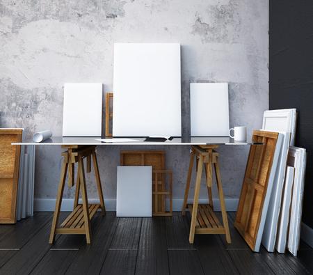 3 d のレンダリング。インテリア アーティストのスタジオを模擬。デスクトップ 写真素材