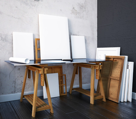 3d render. Interior mock up artist's studio. Desktop Banque d'images