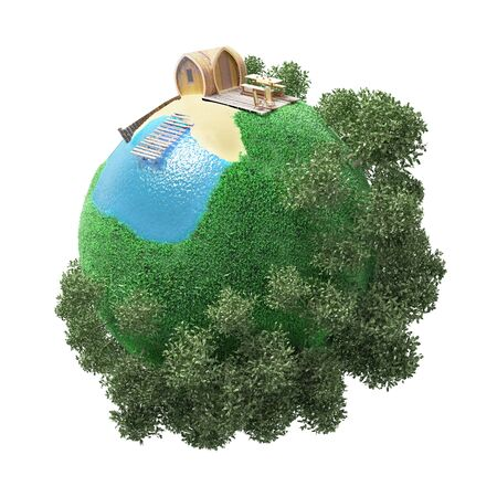 green little planet earth: the concept of a small planet with outdoor recreation and camping