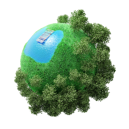 green little planet earth: the concept of a small planet with a lake and outdoor recreation. White background