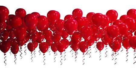 red balloons: 3d red balloons