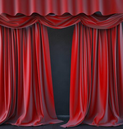 philharmonic: red curtain stage. 3d render Stock Photo