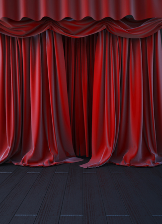curtain up: red curtain stage. 3d render Stock Photo