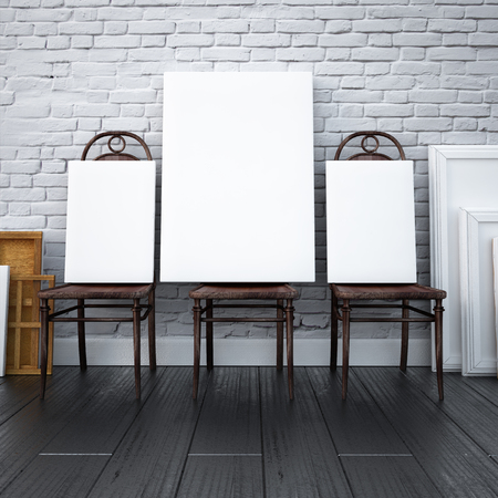 canvas art: mockup interior 3d. paintings on chairs in the studio