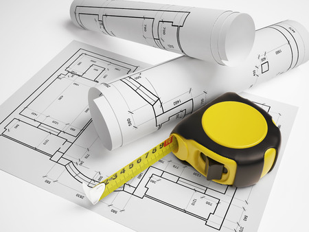 architectural plan with a tape measure Reklamní fotografie - 48967353