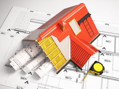 図面の背景の屋根の 3 d 設計