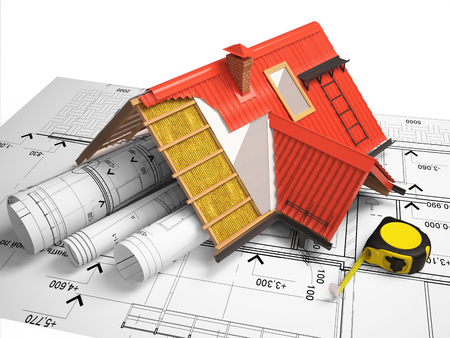mansard: 3d design of roofs on a background of drawings
