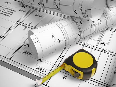 architectural plan: architectural plan with a tape measure