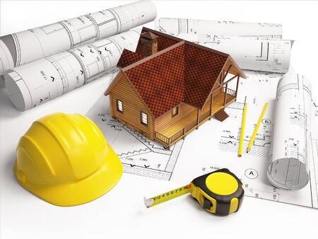 建物の構造から建築図面は。 写真素材