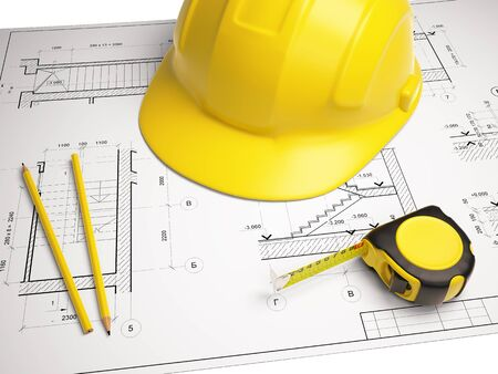 construction helmet: Architectural drawings with construction tools