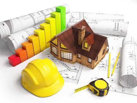 architectural drawings: Architectural drawings model cottage, construction tools, diagram.