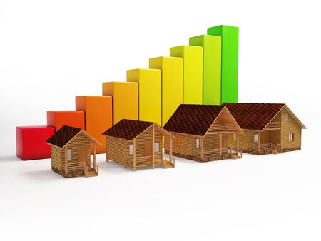 pace: The concept of growth pace of construction of houses. 3d rendering of a number of houses in the background graphics