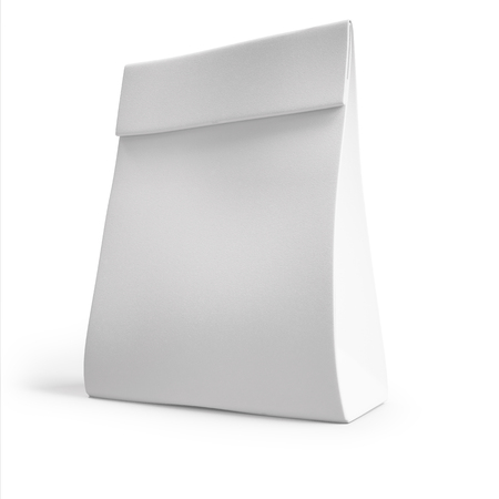 white paper bag: white paper bag for a meal or coffee. 3d. mockup,