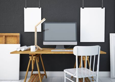 mockup work desk with a PC. 3d Reklamní fotografie