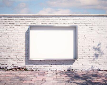 壁にモックアップの看板。3 d