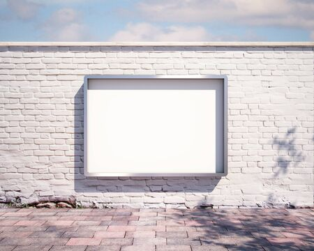 mockup billboard on the wall. 3d