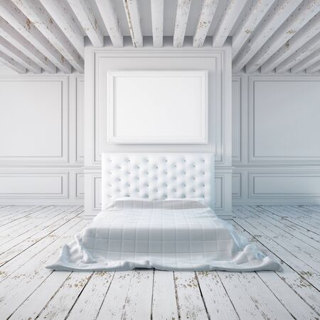 poster bed: Bedroom interior in a classical style. Mockup posters in the interior. 3d Stock Photo