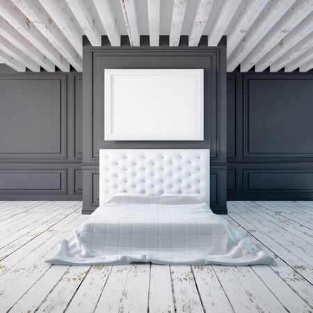 classical style: Bedroom interior in a classical style. Mockup posters in the interior. 3d Stock Photo