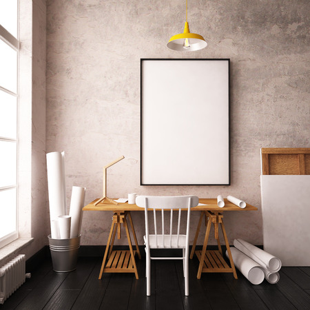 Desk in hipster style loft. mockup interior with posters. 3d Banque d'images