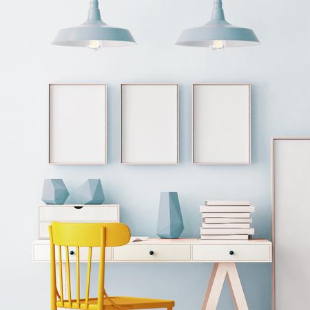 3d illustration interior. Mockup in hipster style workspace. trend color.