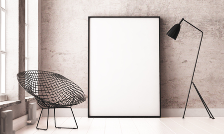 mockup interior with a poster and a floor lamp. trend color. 3d Stock Photo