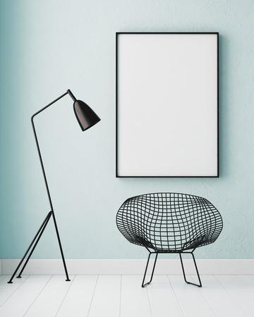 Mockup interior com um cartaz e uma lâmpada de chão. cor da tendência. 3d