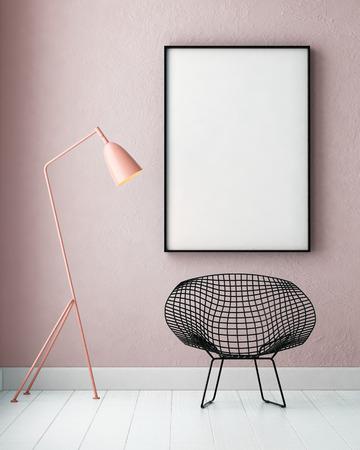 포스터와 플로어 램프와 모형 인테리어. 트렌드 컬러. 3 차원