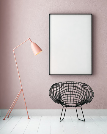 mockup interior with a poster and a floor lamp. trend color. 3d Banque d'images