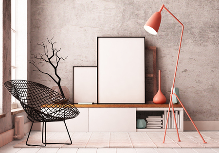 Mockup Poster in the interior. Living in a loft Stockfoto