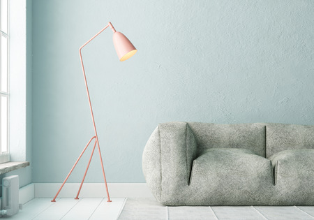 mockup interior with a poster and a floor lamp. trend color. 3d Reklamní fotografie
