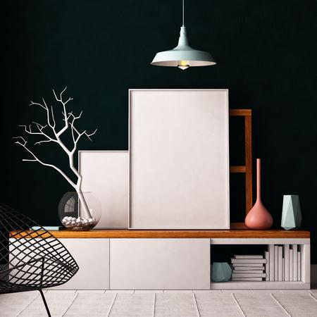 Mockup Poster in het interieur. Wonen in een loft