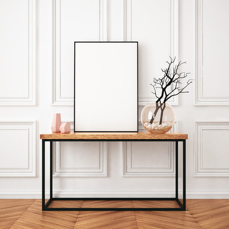 Poster Mockup à l'intérieur dans un style classique Banque d'images - 64721091
