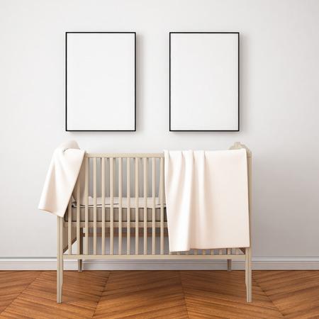 room mockup kind in een klassieke stijl. 3d
