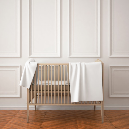 childs: mockup childs room in a classic style. 3d