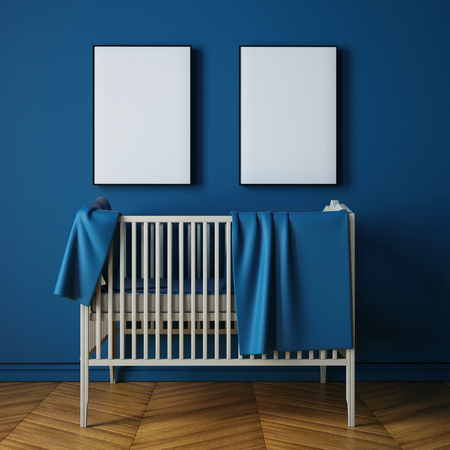 mockup childs room in a classic style. 3d