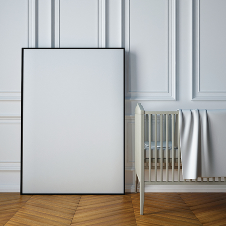 modern frame: mockup childs room in a classic style. 3d