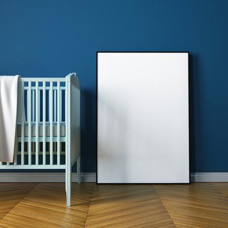 stanza del bambino mockup in stile classico. 3d